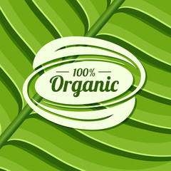 Organic product badge on green leaf texture. Vector illustration