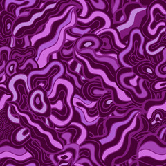 Hand-drawn waves floral pattern, abstract purple leaves and flow