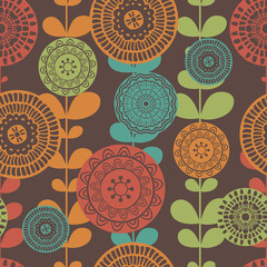 Vector seamless hand-drawn pattern with flowers and leaves. Colo