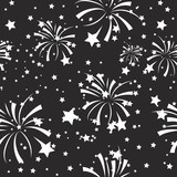 vector seamless pattern fireworks and stars