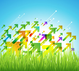 Spring arrow background with green grass.