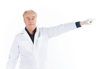 Senior scientist standing on white background.