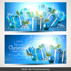 Luxury blue Christmas banners