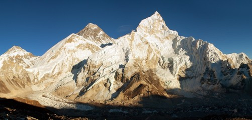 Panoramic view of Everest and Nuptse