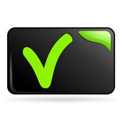 cocher sur bouton web rectangle vert