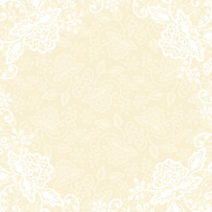 white lace on yellow background