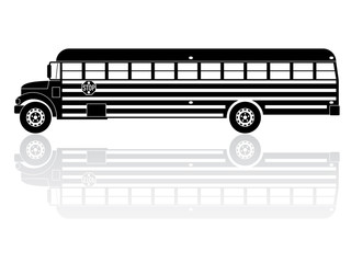 American School Bus Silhouette Vector Icon