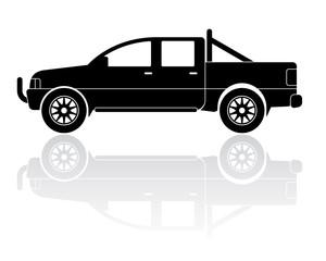 Pickup truck silhouette vector icon