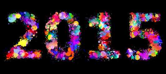 Happy new year 2015 illustration, color splash background.