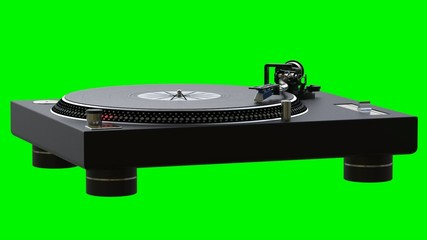 Turntable spinning vinyl records on green chroma key background