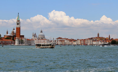Bell tower of Saint George in the venetian lagoon