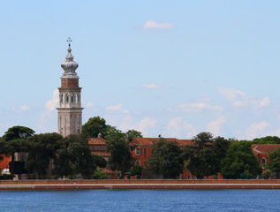 Bell tower of Saint Lazzaro degli Armeni in the venetian lagoon