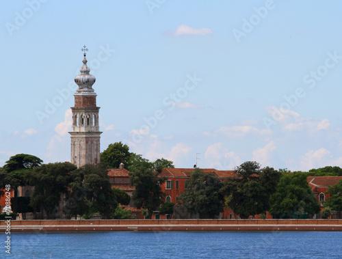 Tuinposter Venice Bell tower of Saint Lazzaro degli Armeni in the venetian lagoon