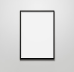 Blank picture frame at the wall with copy space and clipping pat