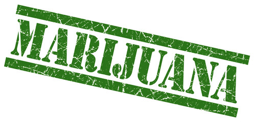 marijuana green grungy stamp on white background