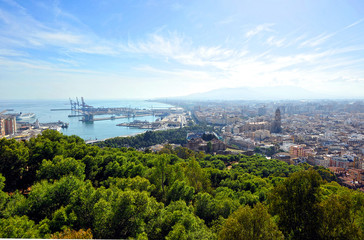 Panoramic view of Malaga, Costa del Sol, Spain