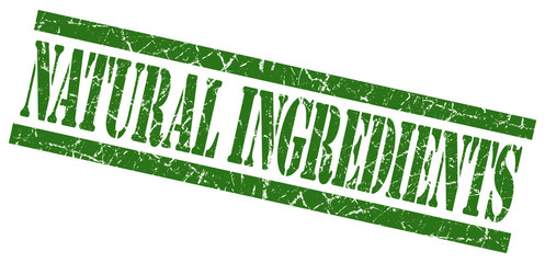 natural ingredients green grungy stamp on white background