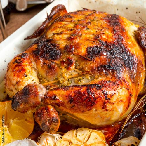 Deurstickers Klaar gerecht baked chicken