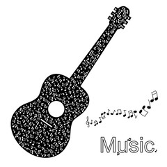 Guitar made of notes music illustration