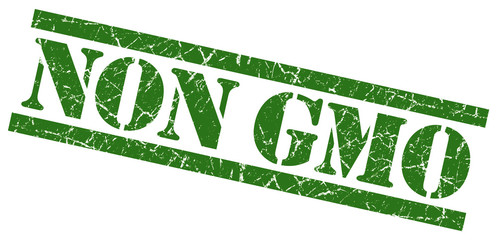 non gmo green grungy stamp on white background