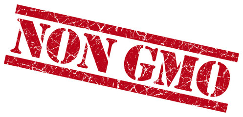non gmo red grungy stamp on white background