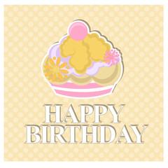 happy birthday with cake over yellow background
