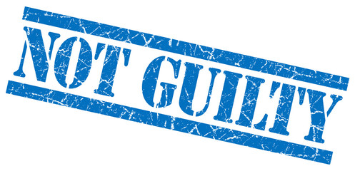 not guilty blue grungy stamp on white background