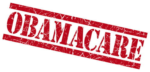 obamacare red grungy stamp on white background