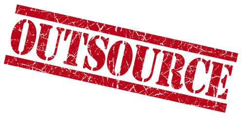 outsource red grungy stamp on white background
