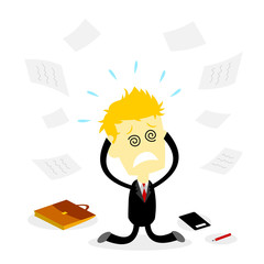 Stressed Bussiness Man Holding Head and Kneeling