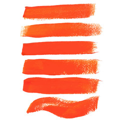 Orange ink vector brush strokes