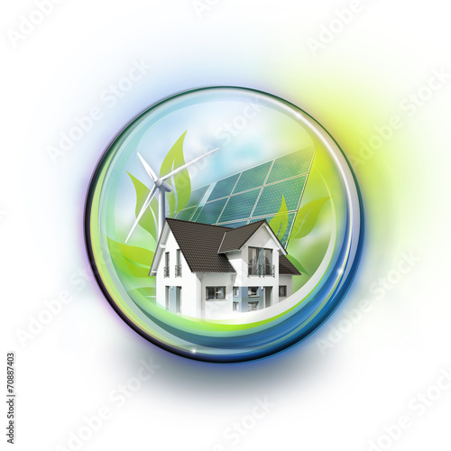 canvas print picture Eco House in Glassball