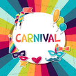Celebration background with carnival stickers and objects. - 70887640