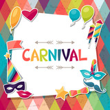 Celebration background with carnival stickers and objects.