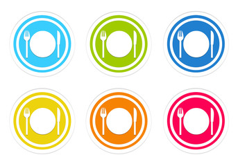 Set of rounded colorful icons with restaurant symbol