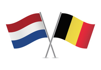 Netherlands and Belgian flags. Vector illustration.
