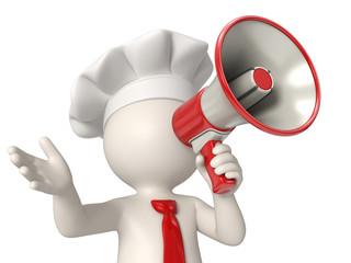 3d chef speaking in megaphone