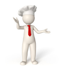 3d chef with red tie