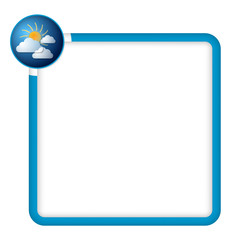 blue frame for any text with clouds and sun