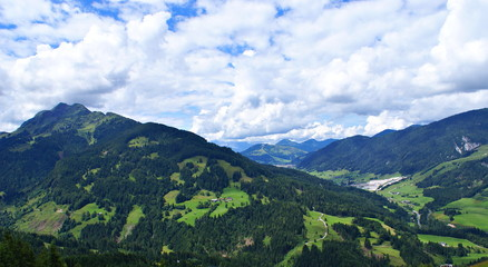 Alps Mountains seen from Leogang Park Adventure, Austria