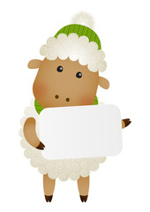 Cute little sheep with paper card