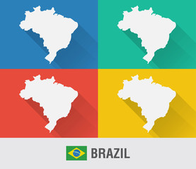 Brazil world map in flat style with 4 colors.