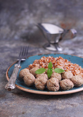 meatball of minced meat mixed with buckwheat