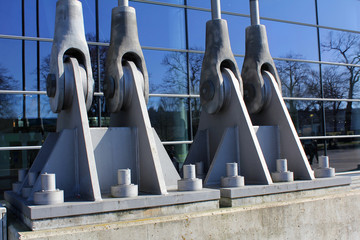 Part of a tension design of the building