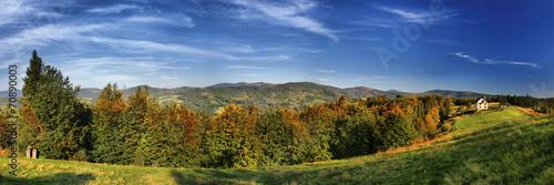 Panorama of mountain. Beskid Śląski, Poland - 70890003