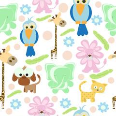 Animal/bird Doodles Seamless Background