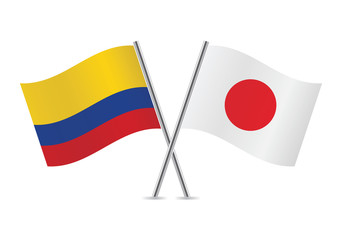 Japanese and Colombian flags. Vector illustration.