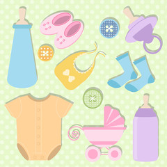 Baby girl shower design icons