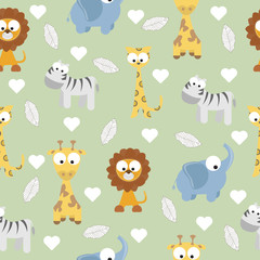 Animal Doodles Seamless Background
