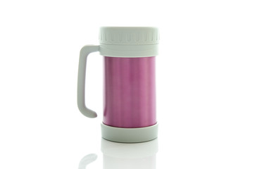 Heat protection-pink thermos for coffee mug, isolated